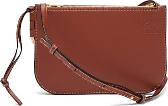 Loewe Gate Double-zip Leather Pouch - Womens - Brown