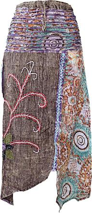 Gheri Hippie Cotton Stonewashed Embroidery Skirts Brown
