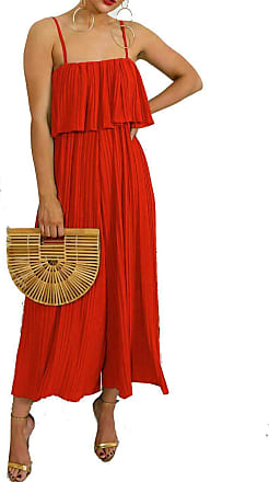 Top Fashion18 Ladies Chiffon Frill Strappy Crinkle Festival Pleated Jumpsuit Culotte Dress Size 8-14 Red