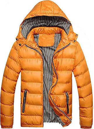 QUINTRA Winter Coats for Men Mens Winter Hat Removable Cotton Jacket Thickening Warm Cotton Padded Coat Yellow