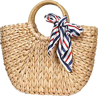 YYW Womens Large Straw Beach Bags Tote Bag Handwoven Top-Handle Bag Summer Beach Bag Straw Handbag (With Scarf)