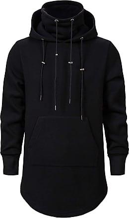 Whatlees Mens Tactical Hoodies Longline Black Hoodie Sweatshirt Pullover Jumper Coat 02010371XBlack+XXL