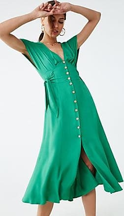 Forever 21 Forever 21 Button-Front Midi Dress Green