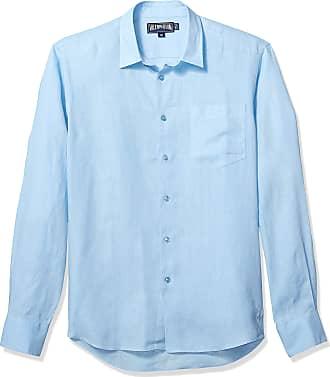Vilebrequin Mens CAROUBIS Solid Linen Button Shirt, Bleu Ciel, XXXL