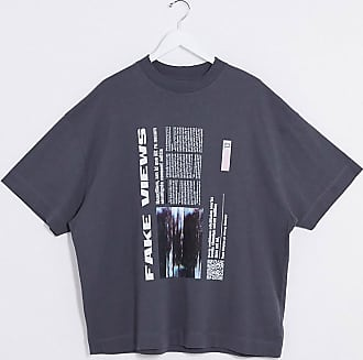 Collusion Unisex oversized t-shirt with fake views print in charcoal-Grey