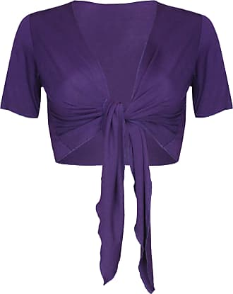 Purple Hanger Womens New Plain Front Adjustable Tie Ladies Short Sleeves Bolero Top Cropped Cardigan Shrug Purple Size 8 - 10