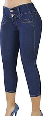 junkai Womens Stretchy Jeans Low-Waist Skinny Fit Jeans Lady Butt-Lifting Pants Summer Girls 3/4 Length Slim Fit Trouser White/Light Blue/Dark Blue/Black