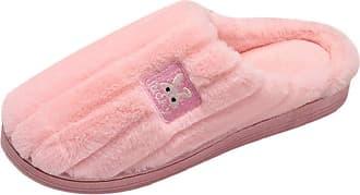 Yvelands Men Women Plush Slipper Winter Warm Fur Lined Fluffy Cotton Slipper Flat Comfy Bedroom Home Slipper Anti-Slip Pink