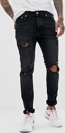 Topman Enge Jeans mit Rissen in verwaschenem Schwarz