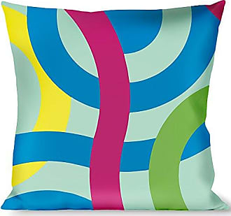 Buckle Down Pillow Decorative Throw Bullseye Stacked Swirl Blues Green Yellow Pink