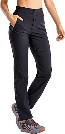 CRZ YOGA Womens Hiking Pants Fitted Casual Pant Mid-Rise Trouser Travel Ankle Pants with Side Zip Pockets Black 16