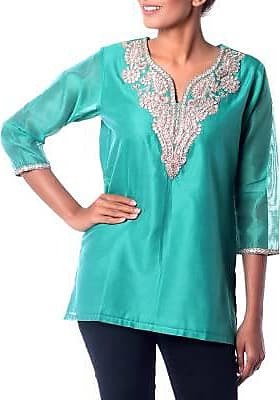 Novica Cotton and silk blend tunic, Sea Princess