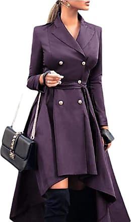 VITryst Womens Long Jacket Coat Double Breasted High Low Irregular Outwear Jacket,Purple,X-Large