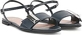 BOSS Italian-made sandals in calf leather with pyramid hardware