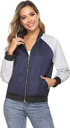 Aibrou Women Bomber Jacket Casual Lightweight Zip Up Softshell Flight Coat Classic Jacket with Pockets Navy 2
