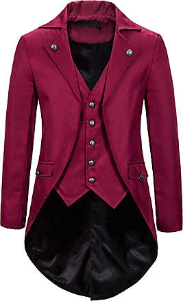 Whatlees Mens Steampunk Vintage Tailcoat Jacket Gothic Victorian Medieval Halloween Costume Coat Red 02010291XRed+XL