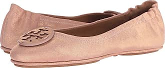 91f2879a5883 Tory Burch Minnie Travel Ballet with Logo (Metallic Sea Shell Pink) Womens  Flat Shoes
