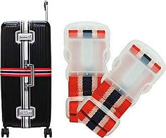 Yin's Kit 2 Cintas de Segurança para Mala de Viagem Bagagem Vermelho e Preto