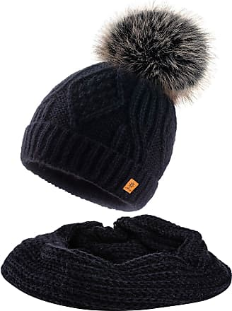morefaz Set Scarf & Hat Women Winter Beanie Hat Worm Knitted Merino Wool Hats Fleece Lining Pom Pom (Set Hat&Scarf Black)
