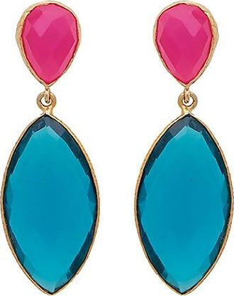 Carousel Jewels Lange Ohrringe aus Fuchsia-Chalcedon und blauem Quarz - Pink/Blue/Gold