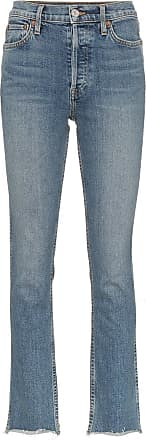 Re/Done Mid blue double needle long straight leg jeans - Azul