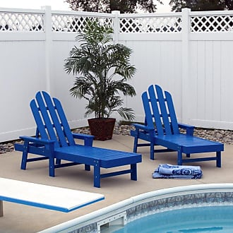 POLYWOOD Outdoor POLYWOOD Long Island Recycled Plastic Chaise Lounge Pacific Blue - ECC76PB