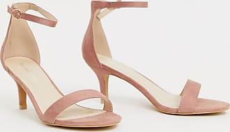 Glamorous Filigrane rosa Sandalen mit Kittenabsatz