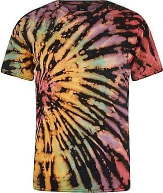 River Island Mens Black multi tie dye T-shirt