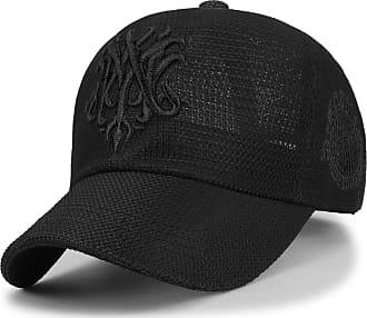 Ililily Emblem Embroidere Baseball Cap Summer Mesh Snapback Trucker Hat, Black, X-Large