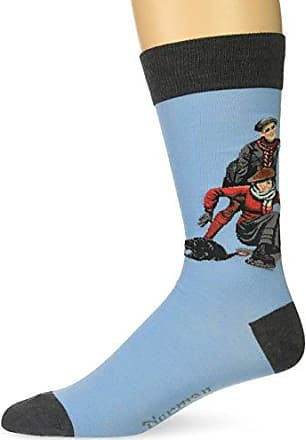 Hot Sox Mens Norman Rockwell Collection Crew Socks, Skating Lesson (Light Blue), Shoe Size: 6-12