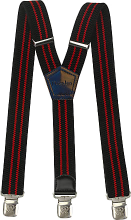 Decalen Mens braces wide adjustable and elastic heavy duty suspenders for trousers Y shape very strong clips Black with Red Strips