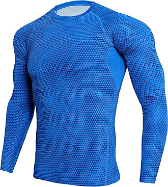 YiJee Mens Sports Running T-Shirts Compression Long Sleeves Fitness Base Layer Tops Blue 2XL