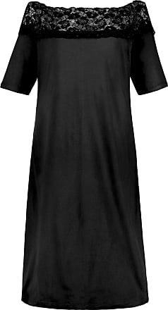 1f3a53280faa51 Ulla Popken Damen Nachthemd, Carmenausschnitt, Spitze, schwarz, Gr. 42/44