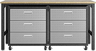 Manhattan Comfort 19GMC Fortress Mobile Space Saving Steel Garage Storage Cabinet and Work Task Table Set, Gray