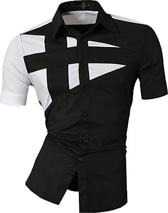 Jeansian Mens Fashion Short Sleeves Shirts Casual Slim Fit Dress Tops Pocket Office Z002 Black XXL