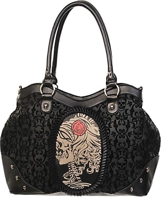 Banned Gothic Victorian Flocked Cameo Skeleton Skull Rose Ladies Handbag