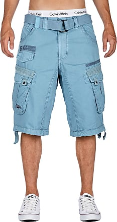 Geographical Norway Mens Shorts Colour with Belt - Blue - XXXL