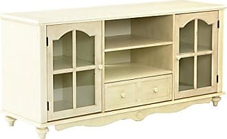 Southern Enterprises Covetry Large TV Console - Windowpane Cabinets w/ Shelves - Antique White Finish