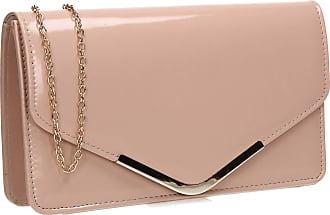 Swankyswans Swanky Swans Zara Womens Patent Leather Envelope Clutch Bag - Pink Nude