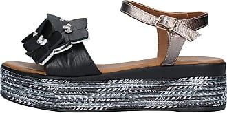 Inuovo Black Leather Wedge Sandal Adjustable Strap Model 117016 Black Black Size: 8.5 UK