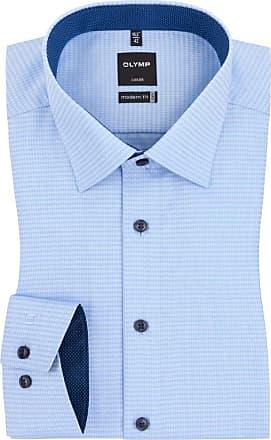 Herren Businesshemd Luxor, 11 Arm, Haifisch, modern fit, bügelfrei, blauweiß, 40