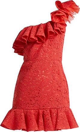 Giambattista Valli One-shoulder Ruffled Lace Mini Dress - Womens - Red