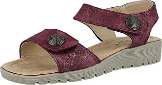 Cushion-Walk Ladies Metallic Faux Leather Open Toe Double Strap Touch Close Summer Sandals Size 3-8 (UK 3/EU 36, Plum)