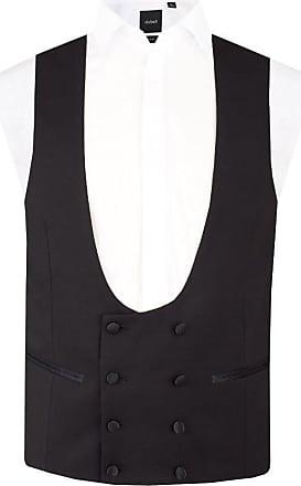Dobell Mens Black Tuxedo Waistcoat Regular Fit 8 Button Double Breasted Horseshoe-M (38-40in)