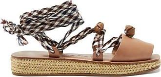 ÁLVARO GONZÁLEZ Tallulona Gingham-strap Wicker Flatform Sandals - Womens - Tan Multi