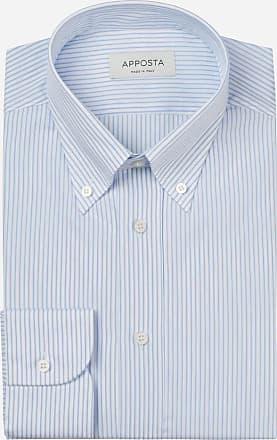 Apposta Shirt stripes cyan 100% pure cotton poplin, collar style button-down collar