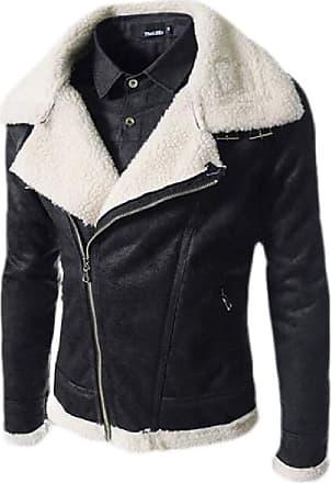 H&E Mens Moto Oblique Zipper Fleece Lapel Slim Fit Faux-Leather Jackets Coat Black X-Small