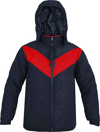Parsa Fashions Mens Jacket Stylish Padded Soft Touch Contrast Puffer Bubble Warm Thick Coat Jackets M-XXL (XXL, Navy - Red)