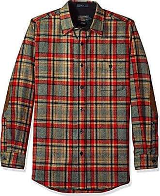 Pendleton Mens Long Sleeve Button Front Fitted Trail Shirt, Camp Green Heather Plaid, SM