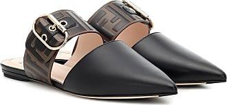 Fendi Logo leather slippers